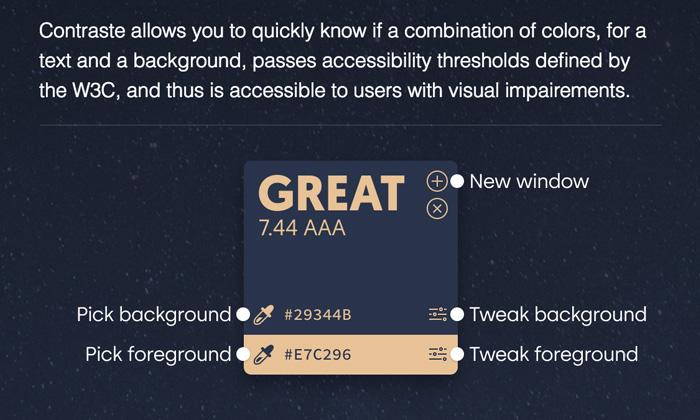 Contraste - App accesibilidad color WCAG