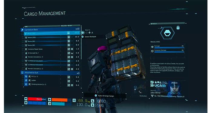 Navegación UI en Death Stranding