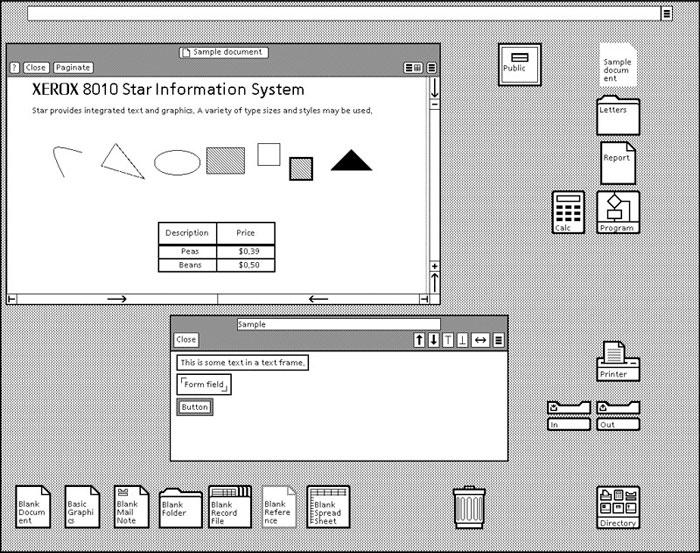 Interfaz de Xerox 8010 Star