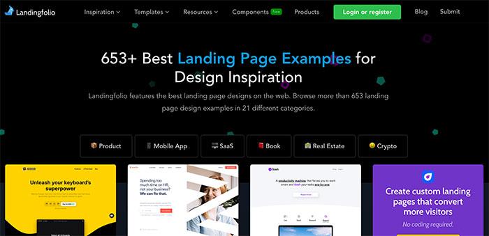 Landing Folio - Inspiración de Landing Pages por categorías