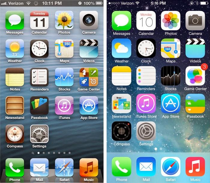 Esqueumorfico (iOS) vs Flat (iOS 7)