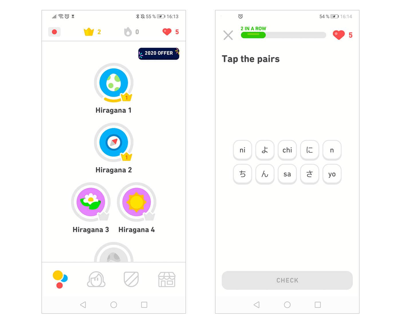 Ley UX Ziegarnik - Duolingo