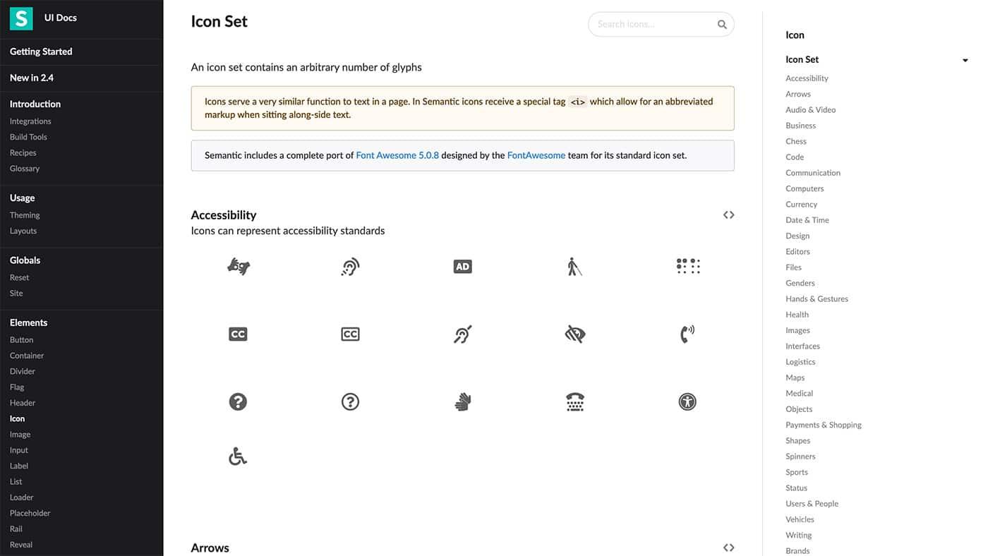 Semantic UI icons - Herramientas diseño UI