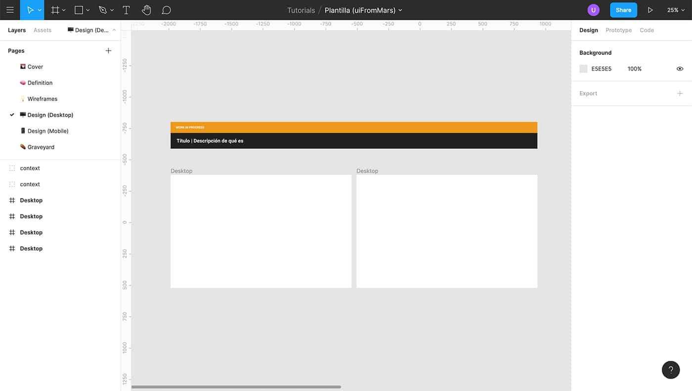 Detalle de diseño WIP en Figma
