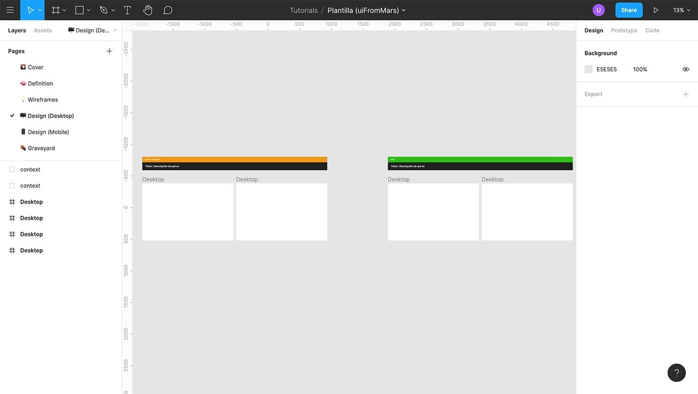 Página de diseño en Figma con diferentes estados