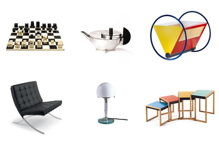 Varios objetos que siguen los principios de la Bauhaus
